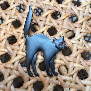Vintage Signed JJ Jonette Halloween Black Cat Pin